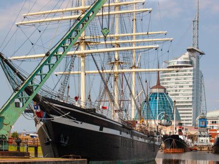 Old Tallship Moored At Bremerhaven Marina, Germany